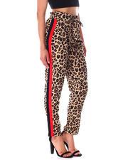 Fashion Lab - Tie Waist Leopard Pants W/Side Stripe-2641806