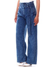 Women - Solid Belted Paper Bag Waist Wide Leg Jeans-2641837