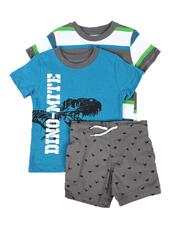 Sizes 2T-4T - Toddler - 3 Pc Graphic Tee, Striped Tee & Pull On Shorts Set (2T-4T)-2645395