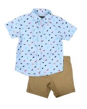 Sizes 2T-4T - Toddler - 2 Pc All Over Print Woven Shirt & Pull On Shorts Set (2T-4T)-2645327