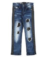 Arcade Styles - Rip & Repair Jeans w/Stone Side Stripes  (4-7)-2644456