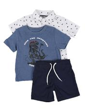 Sizes 2T-4T - Toddler - 3 Pc All Over Print Button Down Shirt, Graphic Tee & Pull On Shorts Set (2T-4T)-2645361