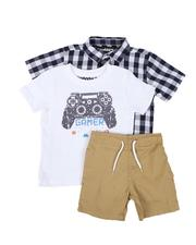 Sizes 2T-4T - Toddler - 3 Pc Plaid Button Down Shirt, Graphic Tee & Pull On Shorts Set (2T-4T)-2645377
