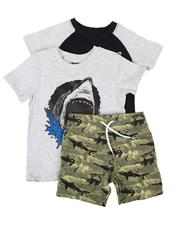 Sizes 2T-4T - Toddler - 3 Pc Raglan Graphic Tee, Graphic Tee & Pull On Shorts Set (2T-4T)-2645387
