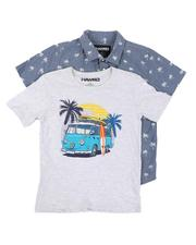 Sizes 8-20 - Big Kids - 2 Pack Printed Button Down Shirt & Graphic Tee (8-16)-2645311