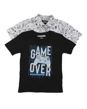 Sizes 8-20 - Big Kids - 2 Pack Printed Button Down Shirt & Graphic Tee (8-16)-2645319