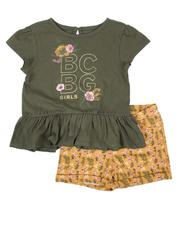Girls - 2 Pc Peplum Top & Knit Shorts Set (2T-4T)-2646039
