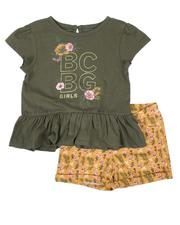 Girls - 2 Pc Peplum Top & Knit Shorts Set (4-6X)-2646045