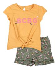 Girls - 2 Pc Tie Front Top & Knit Shorts Set (2T-4T)-2646062