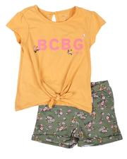 Girls - 2 Pc Tie Front Top & Knit Shorts Set (4-6X)-2646083