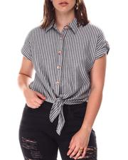 Fashion Lab - Tie Front W/Wood Buttons Top-2646714