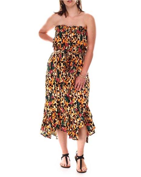 Fashion Lab - Strapless Popover Maxi Dress W/Asymmetrical Hem Self Tie