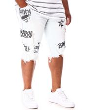 SMOKE RISE - Cargo Pocket Graffiti Denim Shorts (B&T)-2646377