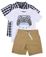 Sets - 3 Pc Plaid Button Down Shirt, Graphic Tee & Pull On Shorts Set (4-7)-2648252