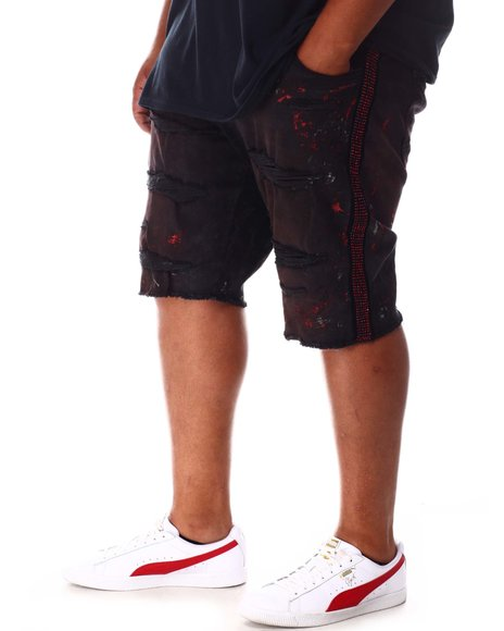 Jordan Craig - Rhinestone Side Trim Distressed Denim Shorts (B&T)
