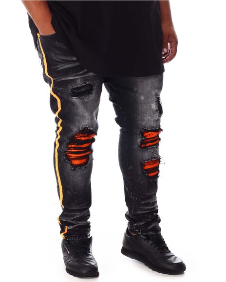 Makobi - Shredded Jeans with Side Stripe (B&T)