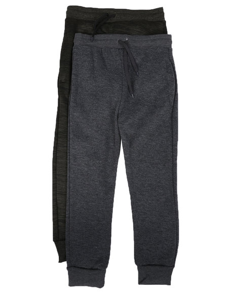 Arcade Styles - 2 Pack Marled & Solid Fleece Jogger Pants (8-20)