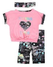 Delia's Girl - 3 Pc Put Your Heart Into It Top, Bike Shorts & Headband Set (2T-4T)-2653869
