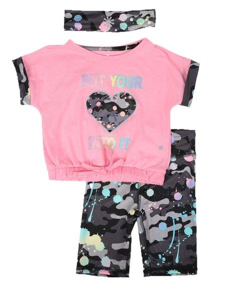 Delia's Girl - 3 Pc Put Your Heart Into It Top, Bike Shorts & Headband Set (2T-4T)