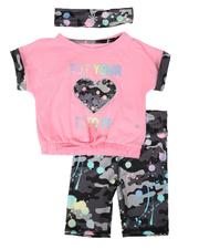 Delia's Girl - 3 Pc Put Your Heart Into It Top, Bike Shorts & Headband Set (4-6X)-2653879