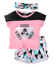 Delia's Girl - 3 Pc Good Vibes Tie Front Tee, DOlphin Short & Headband Set (2T-4T)-2653908
