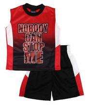 Arcade Styles - 2 Pc Graphic Tank & Mesh Pieced Shorts Set (4-7)-2654103