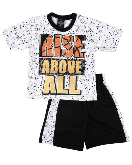 Arcade Styles - 2 Pc Graphic Tee & Mesh Pieced Shorts Set (4-7)