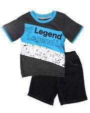 Arcade Styles - 2 Pc Color Block Tee & Denim Shorts Set (4-7)-2654088