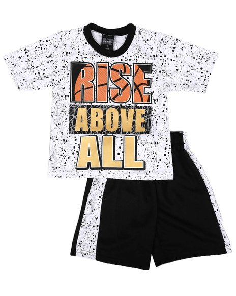 Arcade Styles - 2 Pc Graphic Tee & Mesh Pieced Shorts Set (8-18)