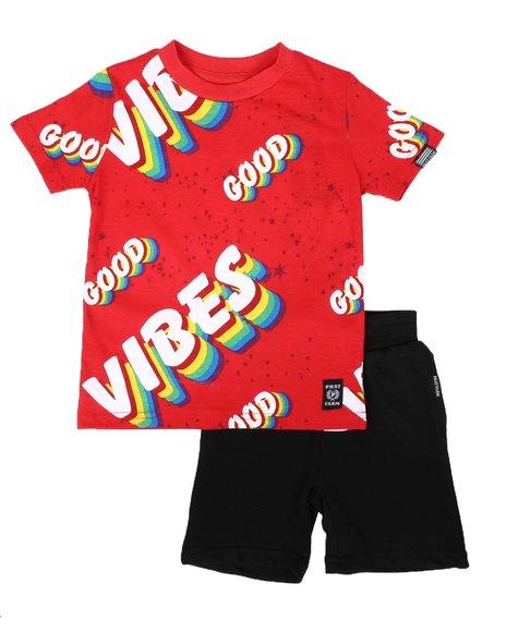 Phat Farm - 2 Pc Good Vibes Print Tee & Solid Shorts Set (2T-4T)