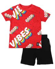 Sets - 2 Pc Good Vibes Print Tee & Solid Shorts Set (4-7)-2654212