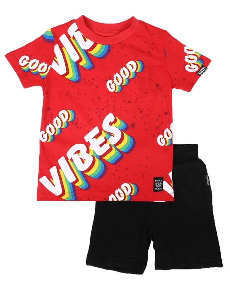 Phat Farm - 2 Pc Good Vibes Print Tee & Solid Shorts Set (4-7)