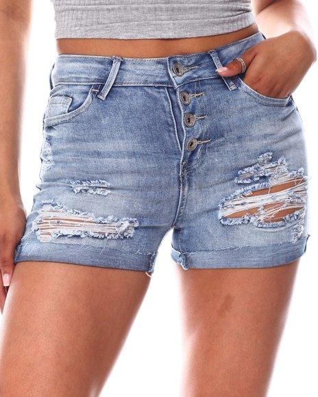 Fashion Lab - Exposed Button Shorts W/Roll Cuff