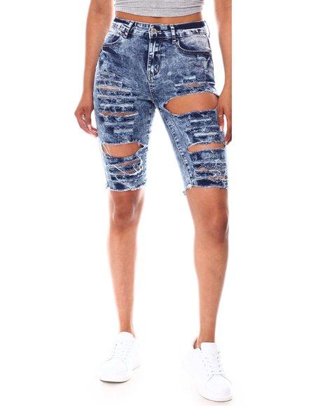 Fashion Lab - Distressed Denim Bermuda Shorts
