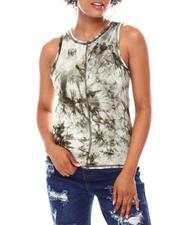 Tanks, Tubes & Camis - Tie Dye Relaxed Tank W/Contrast Flatlock Seaming-2654244
