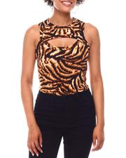 Tanks, Tubes & Camis - Leopard Print Chest Cutout  Blouse-2654274