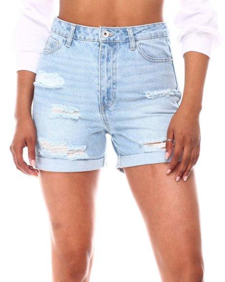 Fashion Lab - Distressed Shorts W/Roll Cuff