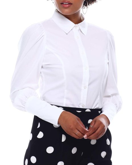 Fashion Lab - Puff Sleeve Button Up Shirt W/Wide Cuff
