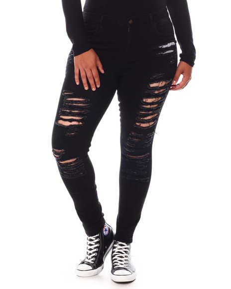 Fashion Lab - Distressed High Waist Jeans (Plus)