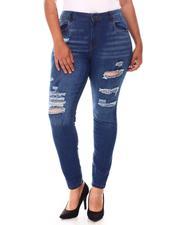 Fashion Lab - Distressed High Waist Jeans (Plus)-2651449