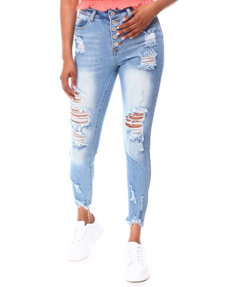 Fashion Lab - Exposed Bottom Distressed Jeans