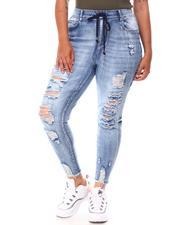 Bottoms - Drawstring Distressed Jeans (Plus)-2654437