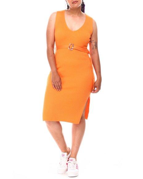 Fashion Lab - Tank Dress W/V Front & Self Belt (Plus)