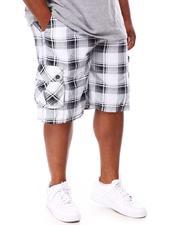Big & Tall - Plaid Printed Cargo Shorts (B&T)-2655738