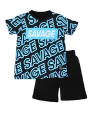 Sets - 2 Pc All Over Savage Print Tee & Solid Shorts Set (2T-4T)-2654441