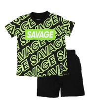 Sets - 2 Pc All Over Savage Print Tee & Solid Shorts Set (2T-4T)-2654448