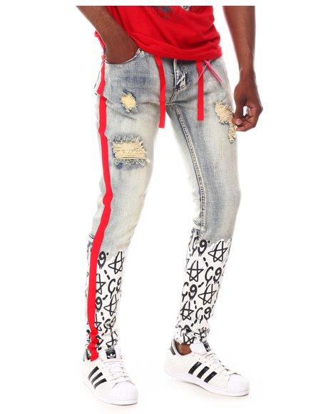Cooper 9 - C9 Graffiti Stripe Jeans Red Black