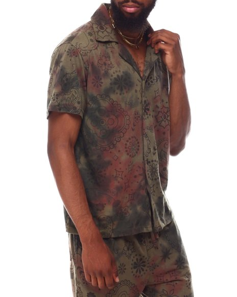 RP1 - OVER DYED BANDANA  SS BUTTON DOWN