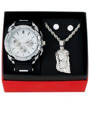 Jewelry & Watches - 3Pc Watch/ Jesus Chain & Earrings Set-2657072