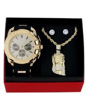 Jewelry & Watches - 3Pc Watch/ Jesus Chain & Earrings Set-2657162